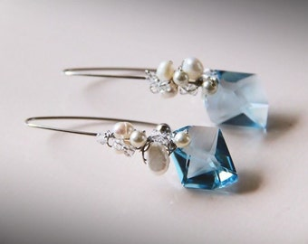 Serenity - Blue Swarovski Elements Crystals and Pearls with Freshwater Pearls Earrings