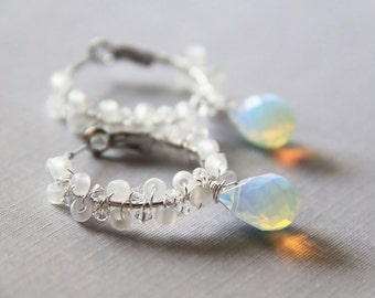Frost - Faceted White Opalite Briolettes with Clear Swarovski Elements Crystals and Japanese Seed Beads Earrings (Rhodium Ear Hoops)