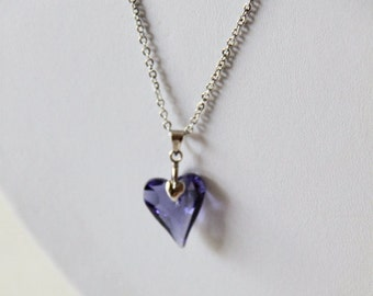 Arrow Heart Necklace - Ameythst Purple Swarovski Elements Crystal Heart . Stainless Steel. Minimalist. Valentine. Love. Lavender