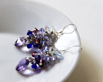Purple Sparkles - Swarovski Elements crystals and 925 sterling silver ear wires . Wedding. Purple. Cobalt. Lavender.Blue