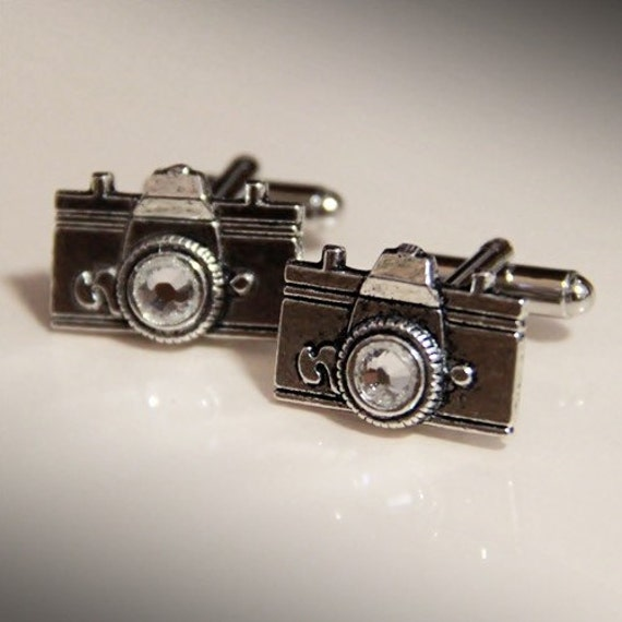Reserved - Silver Camera Cuff Links with Swarovski Elements Crystal Lens