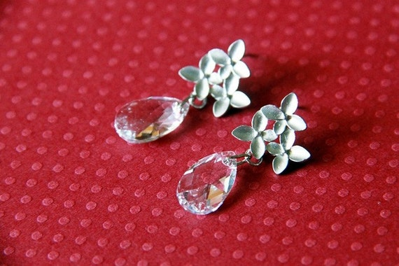 Silver Clusters with Swarovski Elements Crystals on Silver Ear Studs