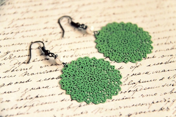 Round and Round - Green Lace Filigrees Metal Round Discs and White Swarovski Elements Crystal Pearls on Antique Brass Ear Wires