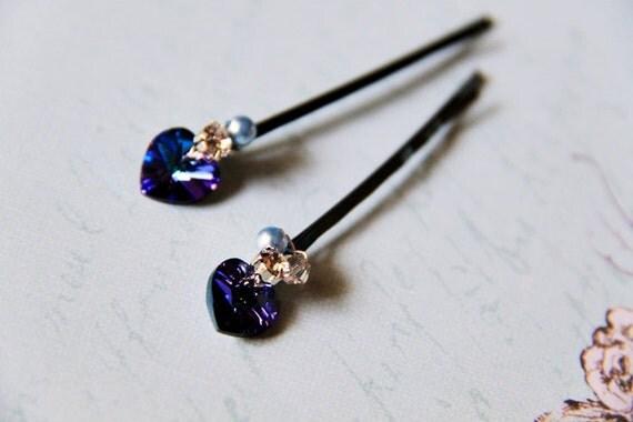 2 Peacock Feather Hair Pins. Swarovski Elements Crystals. Bermuda Blue. Blue Japanese Steel. Bridal. Weddings. Favor. Something Blue. Prom