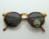 Round Circle Sunglasses Tortoise Vintage 1980s P-3 Frame Tuscany
