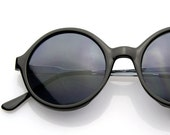 Round Circle Sunglasses 1980s Vintage Glossy Black Hampton