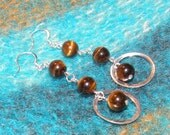 Tiger Eye and Silver Sassy Swinging Wirewrapped Earrings by TriannasTreasures