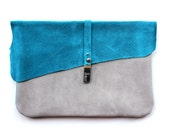 Teal & Grey Suede Clutch - Many Color Combos Available
