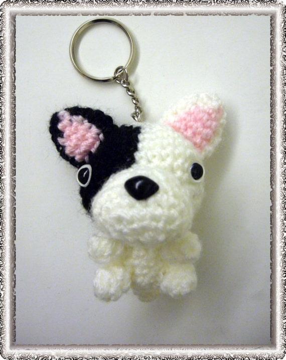 Items similar to Amigurumi Dog Keychain (French Bulldog ...