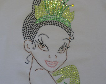 9 inch TIANA  iron on rhinestone transfer for Disney Princess & the Frog costume t-shirt WHOLESALE available