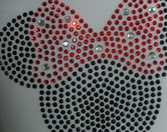 """6.5"""" red Minnie Mouse iron on BLING rhinestone TRANSFER for Disney t-shirt WHOLESALE available"""
