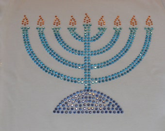 "5"", 7"" OR 8.5"" MENORAH rhinestone iron on transfer for Hanukkah t shirt or dress WHOLESALE available"