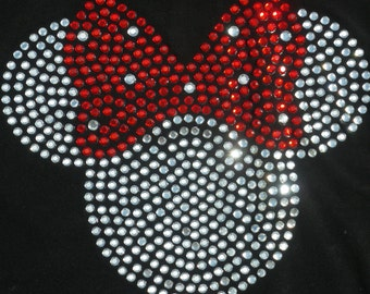 8.5 inch clear/red Minnie Mouse iron on rhinestone TRANSFER for Disney costume or t shirt