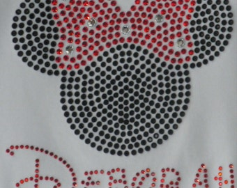 2T 3T 4T 5T 6X Personalized Red Minnie Mouse rhinestone shirt or Tank for Disney costume