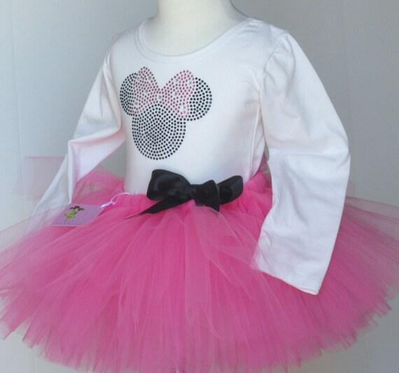 PINK Minnie Mouse 18 months costume Disney dress tutu & Long Sleeve rhinestone top