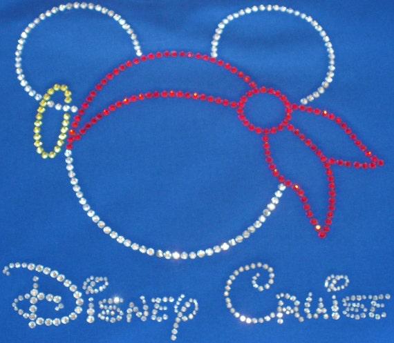 "9.3""  Disney Cruise Pirate Mickey Minnie iron on rhinestone clear/red TRANSFER"