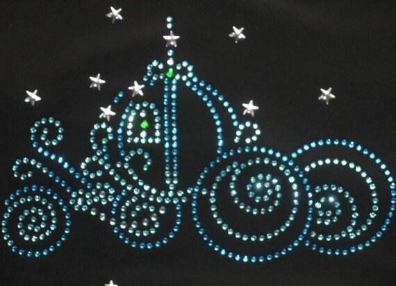 "7.5"" Cinderella hot fix iron on rhinestone transfer for Disney t-shirt"