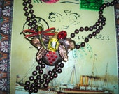 Your Jewelry Box  Of Eccentric Necklaces  / Fireflies  Are Free / Antique Metal Beads  With Enamelled Firefly  Necklace / OOAK