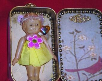 Antique 1920 Celluloid Doll Assemblage / Kate / Decoupage MInt Tin