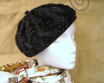 Faux Fur Pixie Beret...Chocolate Brown Pixie Beret.....