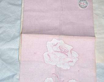 Madeira  / Vintage Jabara Tea Towel / Madeira Embroidered / The Palest of Pinks / HD2