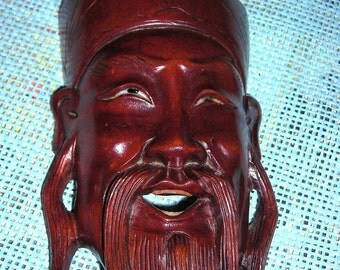 No Chinese Ancestors / No Problem /  Hand Carved Chinese Philosopher / Wall Decor / L1