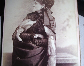 Cabinet Photo / Satin and  Fur Cape / Feather Hat / Profile / Hattie Cooper / Drama Queen