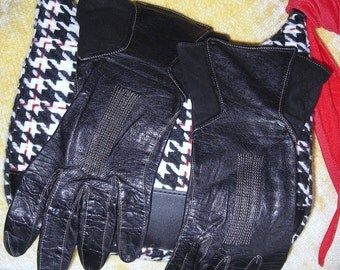 Vintage Black Leather Gloves / Gauntlet Style Gloves / Size 6 1/4 / Suede  And leather Gloves / Women's Gloves