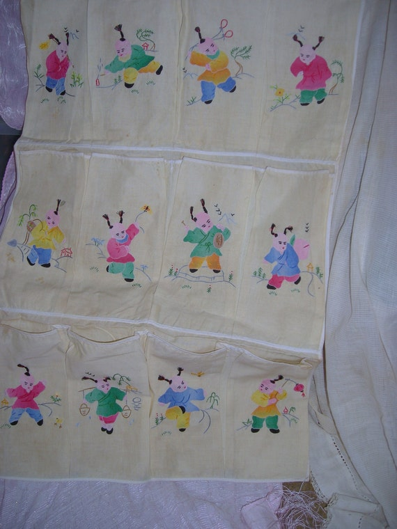 Shabby Vintage Shoe Bag / Adorable Chinese  Children Appliques / 12 Compartments /  Pale Yellow Cotton  Fabric /  Storage  Wall Hanging