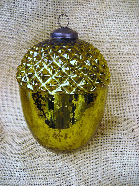 Antique Mercury Glass Ornament / Acorn / Chartreuse Green