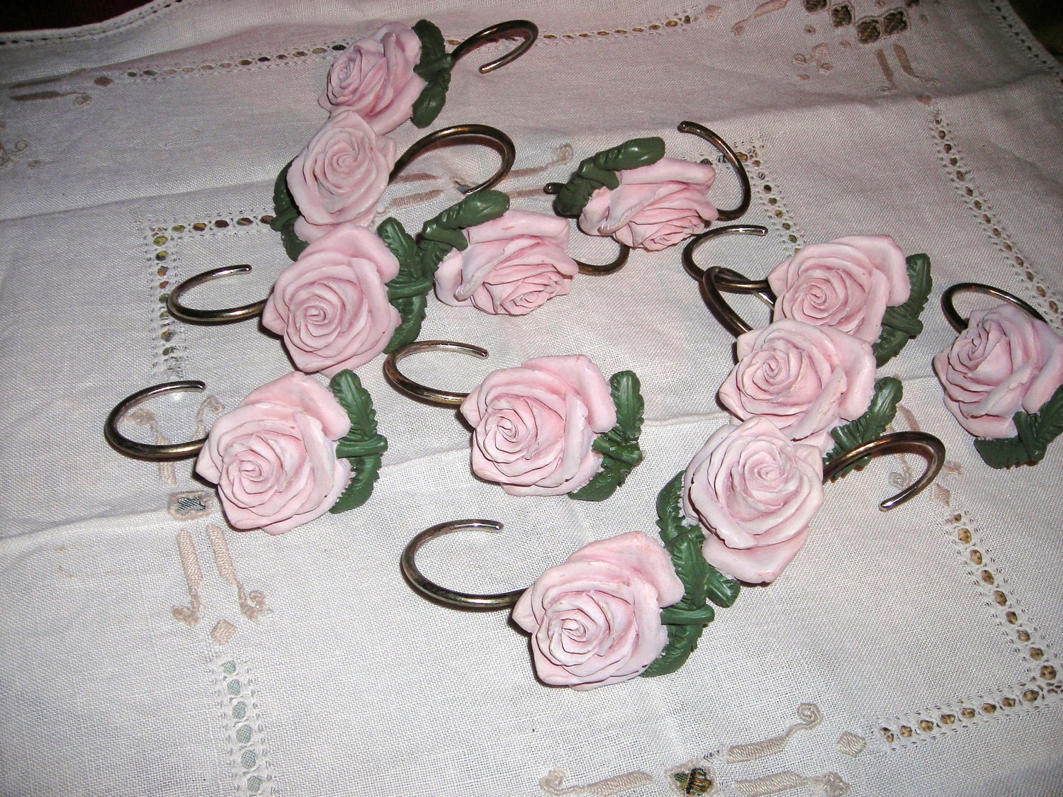 Home Decor / Pink Roses / Shower Curtain Rings / by aquabead