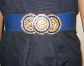VINTAGE 80's Navy Blue Elastic Cinch Belt