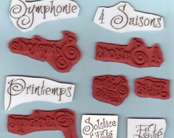 French Text - Lot of 5 - Unique UM Rubber Stamps - Seasons - Collage - Crafts - ATC - Domino Art - FREE Shipping