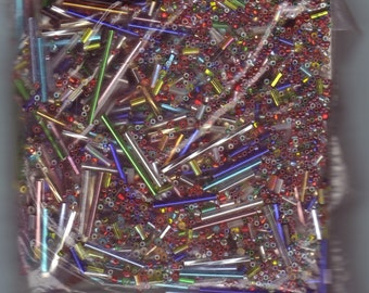 Silver Lined Glass Bead Assortment - 4 oz - 113 gm bag - Bars & Seed Beads - Jewelry - Collage - Mixed Media - FREE Shipping