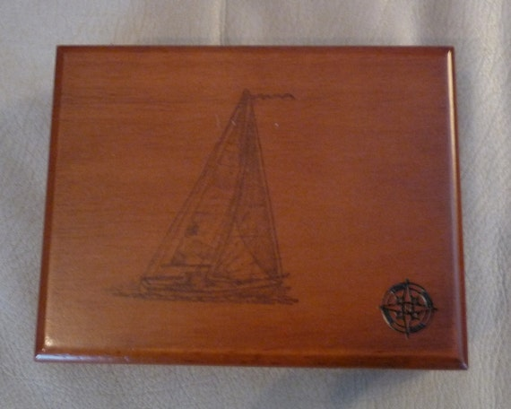 Great Christmas Gift for Men - Nautical Themed Valet - Jewelry or Keepsake Box - Repurposed - FREE Shipping