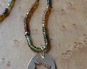 Earth Tone Tourmaline Necklace with 14k Gold Accents, Handmade in Maine