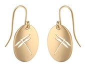 Dragonfly 14k Gold Cutout Earrings, Handmade In Maine