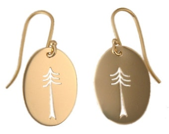 Small Pine Tree Cutout Gold Earrings, Handmade in Maine