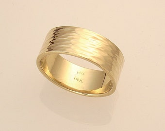 Wide River Hammered Wedding Ring, 14k Yellow Gold For Her, Made in Maine