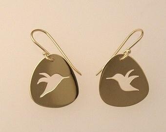 Hummingbird Cutout 14k Gold Earrings, Handmade in Maine