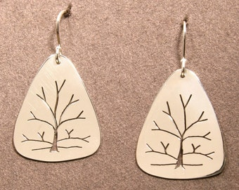 Tree of life earrings, small Yellow gold