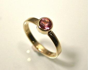 Pretty in Pink, Maine Tourmaline Ring, Handmade in Maine