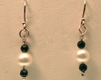 Black Onyx & Pearl Earrings, Handmade in Maine