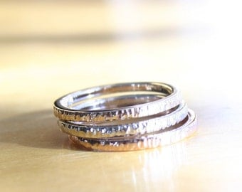 Bark Texture, Hammered 14k Gold, Custom set of 3 Stacking Bands, Handmade in Maine