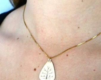 Tree of Life Pendant in 14k Yellow Gold, Handmade in Maine