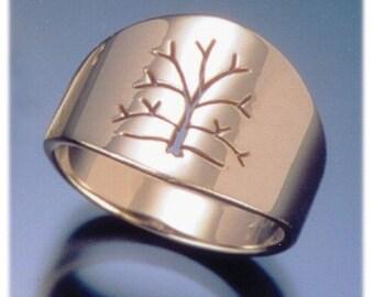 Tree of Life Ring, Women's 14k Gold Wedding Band, Handmade in Maine
