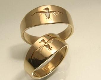 Love Birds Wedding Ring in 14k Yellow Gold, Handmade in Maine