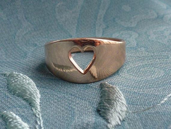 14k Rose Gold Women's Heart Cut Away Ring, Handmade in Maine