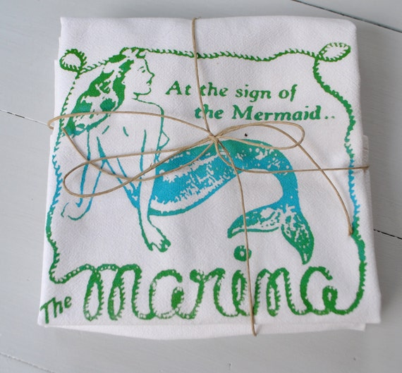 Mermaid Deluxe Cotton Flour Sack Towels, set of two