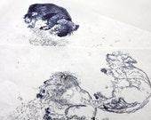 Two Original Monoprints of Relaxing Dachshunds